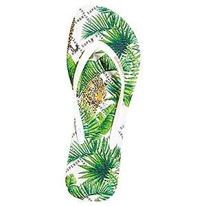 Superdry Damen Super Sleek AOP Flip Flop Zehentrenner, grün, Small