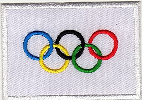 Iron on Patch Sew on Embroidered Application Olympic Flag Banner Ensign IOC Sport Games Tournament