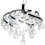 Jago A++-E Deckenleuchte Kristalleuchte Kronleuchter mit runden und tropfenförmigen Kristalen, längenverstellbar aus Eisen