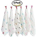 Lot Gant de toilette coton Organics pour bain de bébé en mousseline avec crochet, 30,5x 30,5cm Lingettes réutilisables, serviettes pour bébé, extra doux pour les peaux sensibles