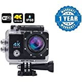 FYUGO Wi-Fi 4K Waterproof Sports Action Camera - 4K Ultra HD, 16MP,2 Inch LCD Display, HDMI Out, 170 Degree Wide Angle