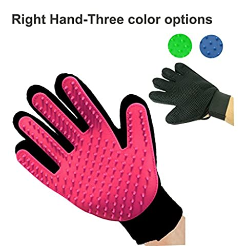 Pet Grooming Massage Glove Brush,Five Finger Gentle Deshedding Brush Glove Efficient Pet Hair Remover Mitts,Massage Tool for Pets -Long & Short Hair Dogs,Cats, Bunnies, Horses A Pair Glove Brush-(Only Right Hand, Pink)