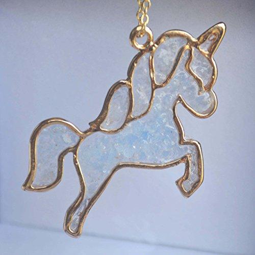 Einhorn Pegasus Blau Glühen im Dunkeln 18K Vergoldet Halskette 65cm Länge