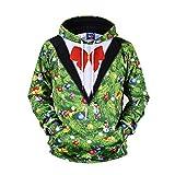 TIFIY Herren Weihnachten Kapuzenpullover,3D Druck Sweatshirt Hässliche Langarm Pullover Vintage Kapuzenpulli Tops Jumper Bluse Sweater (Grün,EU 44/CN M)
