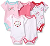 Luvable Friends Baby Infant 5 Pack Bodysuits, Floral, 6M(3-6 Months)