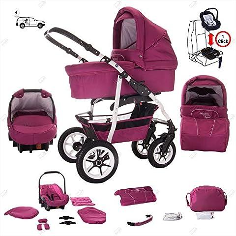 bebebi | modello Bellami | & Base Isofix Seggiolino Auto | 3in 1passeggino combinato | aria pneumatici | colore: