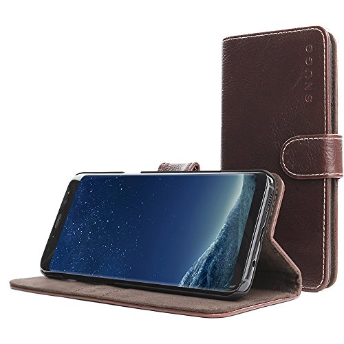 Galaxy S8Fall, Snugg Samsung Galaxy S8Flip Case [Slots] Leder Brieftasche Cover Executive Design Legacy Serie braun Dark-Roast Brown
