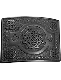 Hombre Escocés Hebilla De Cinturón Kilt Nudo Celta trabajo Cardo Diseño Acabado Negro / Celta Hebilla Cinturón