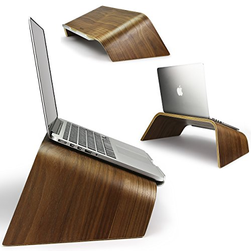 Urcover® UNIVERSAL Echt Holz Laptop Ständer Halter in Dunkel Braun mit Metalllippe | Samdi Edition Notebookständer | Desktop Laptopständer | Ultrabook Schreib-Tisch Halterung