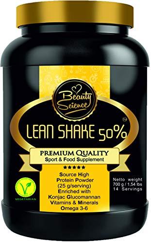 BSFood Lean Shake 50% (Mexican Vanilla, 700g) gluten vrij, maaltijdvervanger voor gewichtscontrole met Konjac Glucomannan