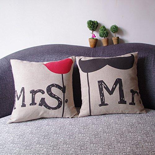 Luxbon set di 2 barba mr & mrs federe per cuscino in contone lino copricuscino decorativo per casa divano sedia stanza letto 45 x 45 cm