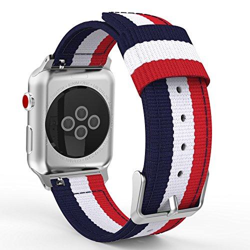 MoKo Correa para Apple Watch 42mm - Adjustable Reemplazo Band Deportiva con Fino Tejido de Nilón para Apple Watch 42mm SERIES 1 / 2 / 3, 2015 & 2016 & 2017& Nike+ Todos los modelo, Azul&Blanco&Rojo