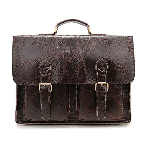 Bolso cuero maletín cremallera retro bolso hombre