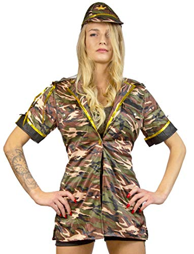 Fallschirmjäger Kostüm Frauen - Nerd Clear Soldatin Kostüm für Frauen | 3-teilig: Kappe, Oberteil, Hotpan | ideal für Karneval & Fasching