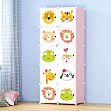Story@Home Wardrobe Portable And Foldable Multipurpose Cupboard Closet Shelf Storage Cabinet 10 Door Storage, Bookcase, Organizer Rack Shelf for Kids And Women Clothes - Pink & White