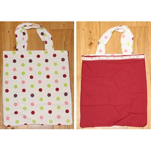 Original einmalige Cotton Tote, doppelseitig, mit Punkten (Bag Tote Beach Cotton)