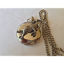 A37 Shire Horse polished silver case mens GIFT quartz pocket watch fob made in sheffield