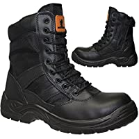 Max Steel Mens Leather Combat Ankle Boots Steel Toe Cap Military Combat Safety Trainers Police Work Shoes
