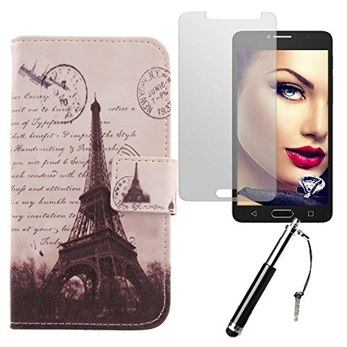 Lankashi Stamp Tower Design 3in1 Zubehör Set PU Flip Leder Tasche Für Alcatel One Touch Pop 4S 5.5