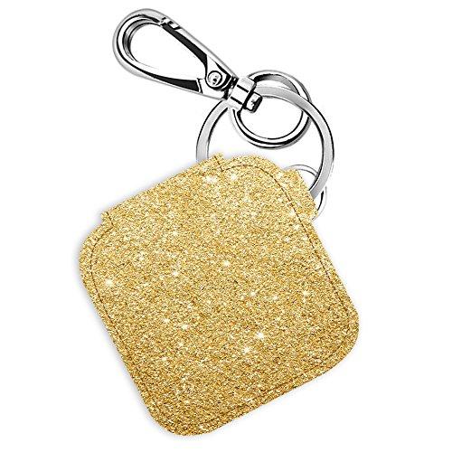 Logity Tile Mate & Tile Sport & Tile Style hülle mit Karabiner-Schlüsselanhänger, Lederhülle für Tile Bluetooth Tracker, Anti-Lost Design, Gold (Gps-handheld Benutzt)