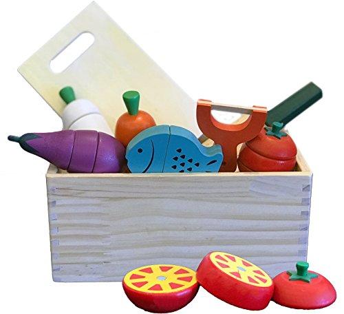 The Cuddle 10 tlg. Holz Lebensmittel Set zum Schneiden mit Magnet/Spielküche Zubehör aus Holz
