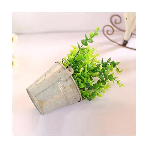 Planta de simulación Eucalipto Bonsai – Maceta artificial de plástico, verde planta Bonsai interior y exterior para…