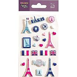 NOUVELLES IMAGES 75007544 Ensemble de 24 Mini Stickers, Finition matière Mousse, Multicolore, 14,5 x 7,8 x 0,1 cm