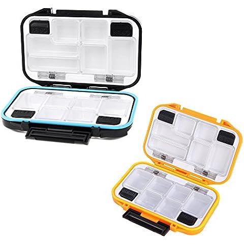 Inflagen (TM) 2 colori, scatola degli attrezzi, con 12 scomparti, Fly Fishing Lure Bait Cucchiaio con custodia