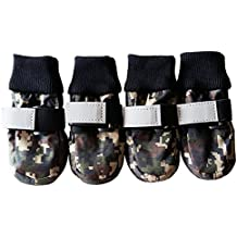 Ecloud Shop® Botas perro de mascota mascota zapatos para caminar nylon impermeable (L)