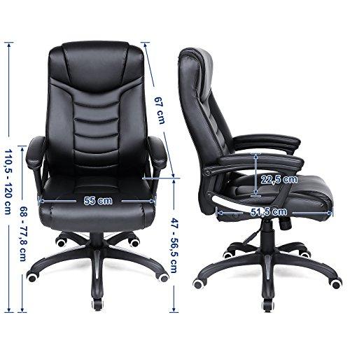 Songmics schwarz Bürostuhl Chefsessel Bürodrehstuhl hoher sitzkomfort OBG21B - 4