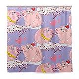 BALII Cartoon Pig in Love Duschvorhang 182,9x 182,9cm Polyester Wasserdicht mit 12Haken für Badezimmer