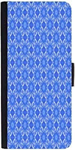 Snoogg Blue Flourish Pattern Graphic Snap On Hard Back Leather + Pc Flip Cove...