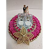 Pink & White Crystal Wedding Ring Platter With 2 Ring Holders Platter | Ring Ceremony Thali.