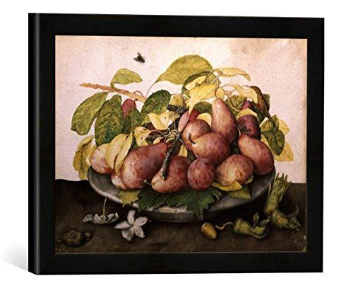 Gerahmtes Bild von Giovanna Garzoni Schale mit Pflaumen und Haselnüssen, Kunstdruck im hochwertigen handgefertigten Bilder-Rahmen, 40x30 cm, Schwarz matt - Garzoni Schale