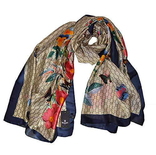 Hilldi Schal für Damen, seidig, florales Design, groß (Zara Möbel)