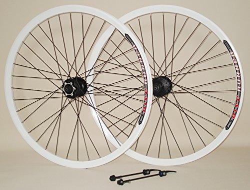 26 Zoll Fahrrad Laufrad Laufradsatz DISK RUNNER Hohlkammerfelge Shimano Deore 475 6-Loch DISC weiß für Scheibenbremse (Aluminium-reifen-felgen)