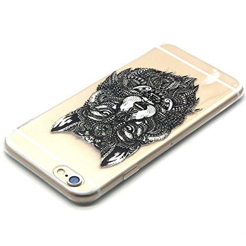SainCat Coque Housse Apple iPhone 6,Transparent Coque Silicone Etui Housse,iPhone 6s Silicone Case Soft Gel Cover Anti-Scratch Transparent Case TPU Cover,Fonction Support Protection Complète Magnétiqu Loup