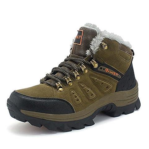 Hommes femmes bottes de randonnée en cuir véritable chaussures de trekking haut de gamme masculines automne féminin et hiver gardent le chaud plus cramêre randonnée en plein air trekking escalade bottes de marche , brown , 47