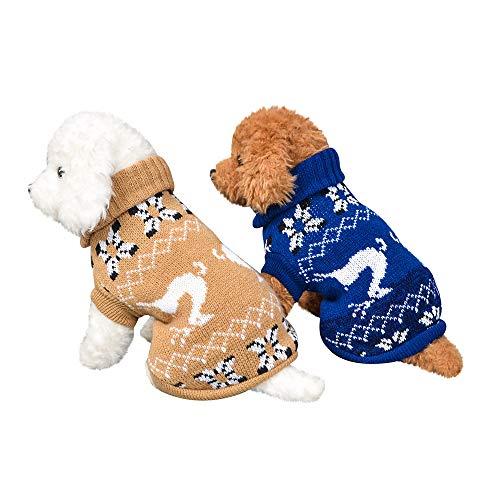 Fenverk_Haustier Hund Katze Winter Warm Rollkragen Sweatshirt Mantel KostüM Bekleidung Jacke Kleider Hoodies Jumper Zum HüNdchen Klein Mittel Groß Hunde Overall Kleidung(C-Blau,M)