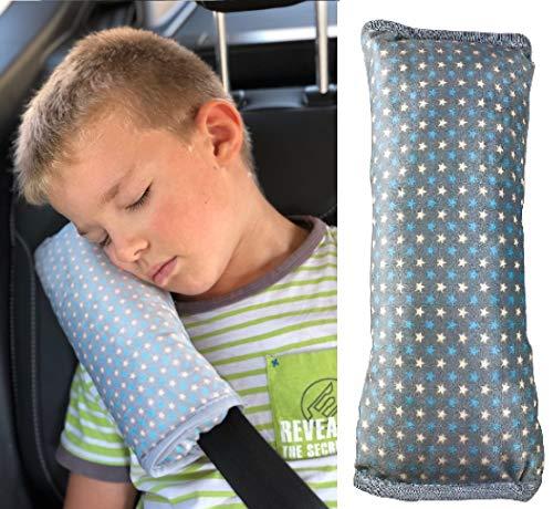 HECKBO Sterne Gurtkissen Gurtpolster für Kinder - maschinenwaschbar – kuschelweich - hochwertiges Auto Schlafkissen · Gurtkissen Gurtschutz - 30cmx12cm