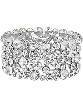 EVER FAITH® österreichische Kristall Braut breit Stretch Armband Silber-Ton klar N04871-1