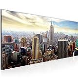 Bilder New York City Wandbild 100 x 40 cm Vlies - Leinwand Bild XXL Format Wandbilder Wohnzimmer Wohnung Deko Kunstdrucke Blau 1 Teilig -100% MADE IN GERMANY - Fertig zum Aufhängen 603412b