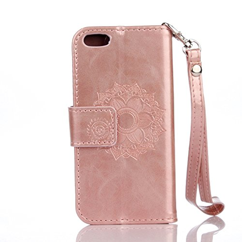 JIALUN-étui pour téléphone Pour IPhone 5 & 5s & SE Case, Solid Embossed With Card Slot, Lanyard Flat Open The Phone Shell ( Color : Black ) Rose Gold
