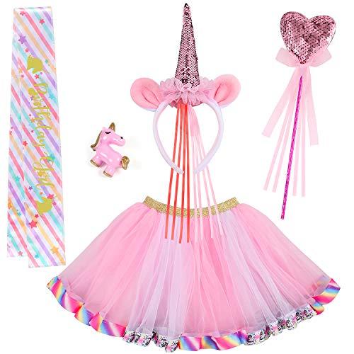 VAMEI 4 Piezas Disfraz de Unicornio para niños Unicornio Cumpleaños Traje de UnicornioTutu Falda Trajes con Diadema Varita mágica Sash Unicornio Regalos Princesa Fiesta de Unicornio para niñas