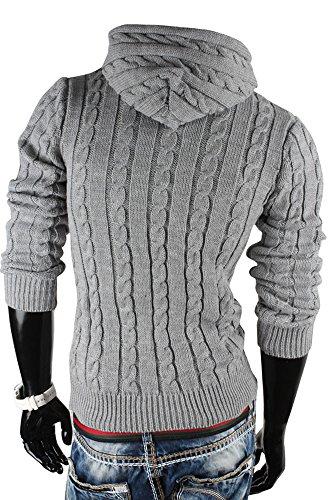 Tazzio pull en maille à capuche pour homme en tricot Gris - Gris