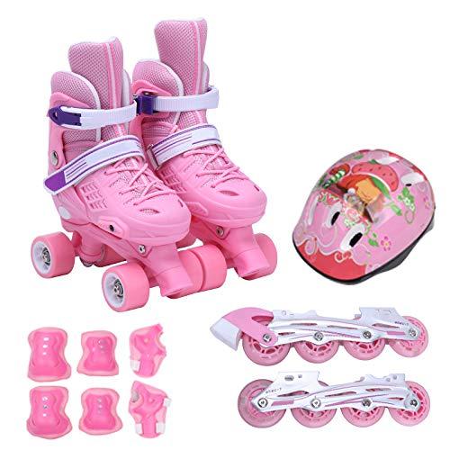 ZCRFY Rollschuhe Kinder Zweireihig Verstellbares Inline-Skates Quad Roller Anfänger 6-12 Jahre Rollerblading Safety Pads Safety Skate Helm Set Geburtstagsgeschenk,Pink-S(26-30)