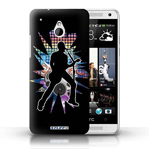 Kobalt® Imprimé Etui / Coque pour HTC One/1 Mini / Atteindre Blanc conception / Série Rock Star Pose Chanteur Noir