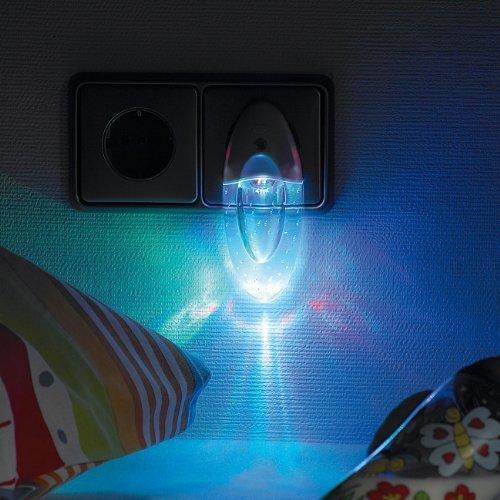 Lunartec – Luz LED nocturna con efecto de arcoíris y encendido/apagado automático