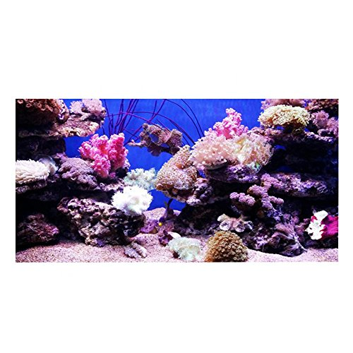 Sfondo Acquario HD Ocean Fondale Marino Coral Wallpaper 3D Effect Adesivo Mondo subacqueo Fondale Decorazione per Acquario(122 * 50cm)