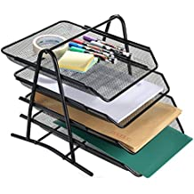 """AGPtek 4 Schubfächer Briefablage Organizer, Metall Mesh, Schreibtisch Dokument Brief Ablage für Zuhause & Büro - Schwarz -""""MEHRWEG"""""""